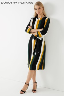 Dorothy Perkins Stripe Tie Waist Midi Dress