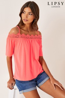 Lipsy Crochet Cold Shoulder Top