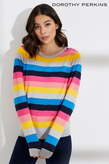 9404fa3b5cd6cf Dorothy Perkins Rainbow Stripe Jumper