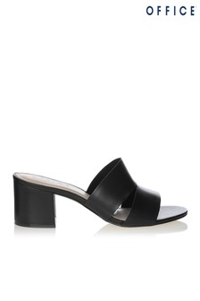 Office Leather Slide On Block Heeled Mules