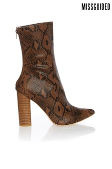Missguided Block Heel Snake Tubular Boots