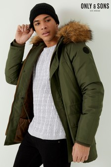 Only & Sons Parka Jacket with Detachable Faux Fur Hood