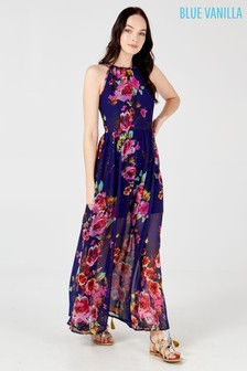 Blue Vanilla Halterneck Floral Maxi Dress