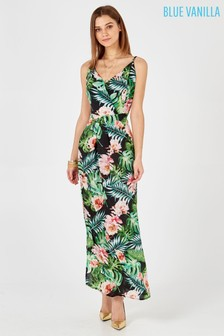 Blue Vanilla Floral Leaf Wrap Split Maxi Dress