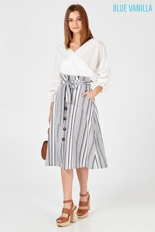 Blue Vanilla Striped Belted Button Front Midi Skirt