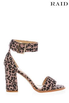 Raid Two Part Leopard Block Heel Sandals