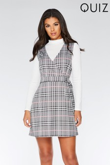 Quiz Check Pinafore Dress