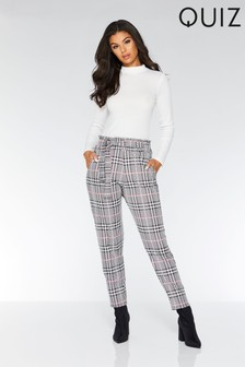 Quiz Belted Check Trousers