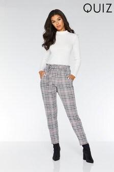 Pantalon Quiz à carreaux et ceinture