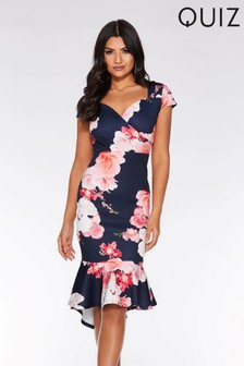 Quiz Floral Fishtail Dress