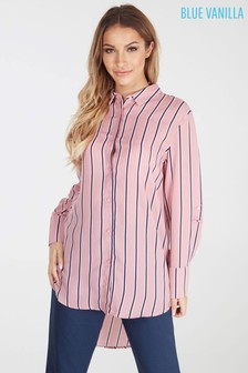 Blue Vanilla Boyfriend Striped Oversized Shirt