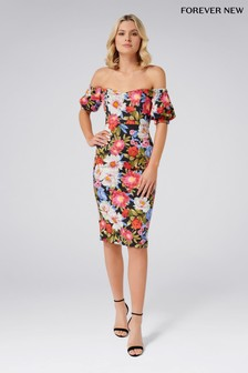 Forever New Floral Print Bardot Midi Dress