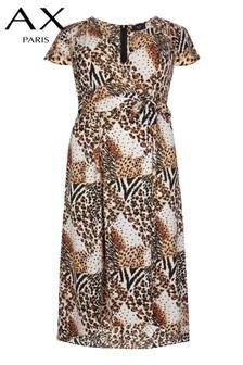 AX Paris Curve Leopard Printed Dip Hem Dress