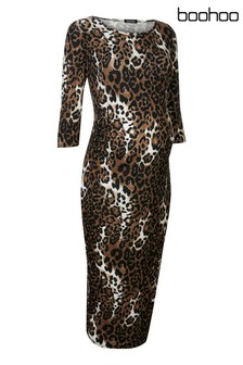 Boohoo Maternity Leopard Print Bodycon Dress