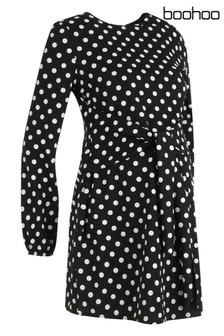 Boohoo Maternity Spot Tie Front Dress