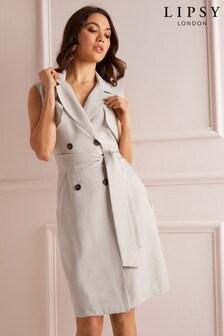 Lipsy Sleeveless Linen Blend Button Through Dress