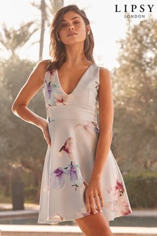 Lipsy Floral V neck Skater Dress