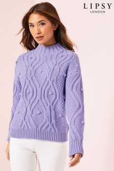 Lipsy Pom Pom Detail Cable Knit Jumper