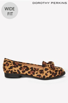 Dorothy Perkins Wide Fit Leopard Loafers