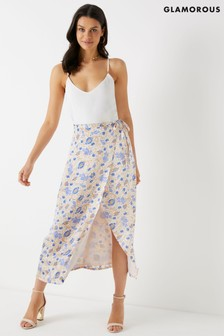 Glamorous Floral Wrap Midi Skirt