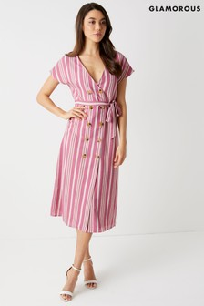 Glamorous Stripe Button Front Midi Dress