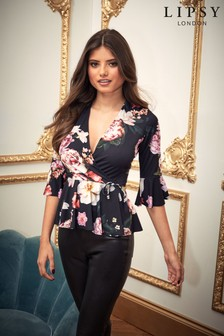 Lipsy Dark Floral Wrap Top
