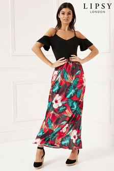 Lipsy Petite 2 in 1 Tropical Cold Shoulder Maxi Dress