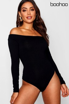 Boohoo Long Sleeve Bardot Bodysuit