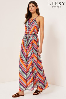 Lipsy Stripe High Neck Maxi Dress