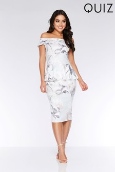 Quiz Floral Bardot Peplum Midi Dress
