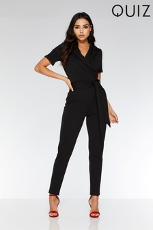 bbf4854c46 Quiz Lapel Tie Belt Tapered Leg Jumpsuit