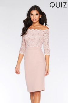 Quiz Sequin Lace Scallop Midi Dress