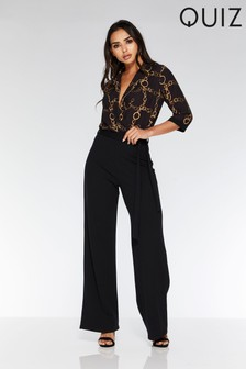 35330dccb2 Quiz Chain Print Tie Belt Jumpsuit