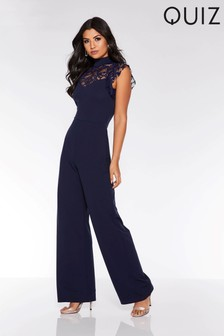 a5f27d4e9dc5f3 Quiz Lace Frill High Neck Palazzo Jumpsuit