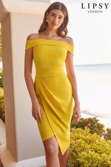 Lipsy Bardot Asymmetric Hem Midi Dress
