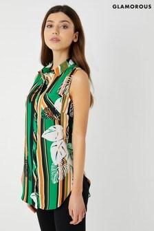 Chemise Glamorous sans manche à fleurs et rayures