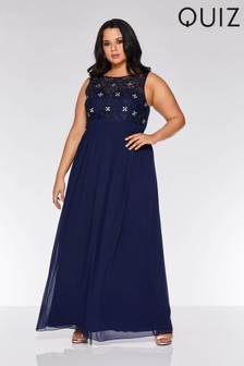 Quiz Curve Chiffon Embellished High Neck Sweetheart Maxi Dress
