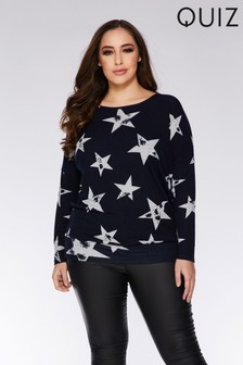Quiz Curve Light Knit Star Print Jumper