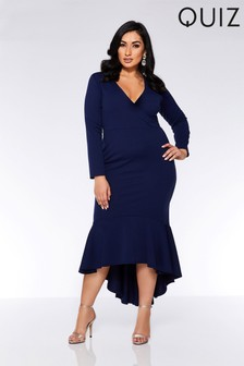 Quiz Curve Wrap Front Fishtail Midi Dress