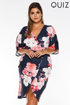 Quiz Curve Floral Cold Shoulder Wrap Front Midi Dress