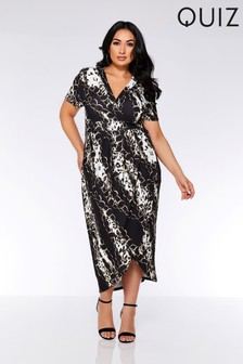 Quiz Curve Chain Print Wrap Dress