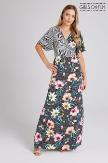 48493996ebc Girls On Film Print Mix Maxi Wrap Dress