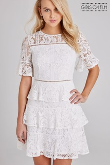 3be5a2916aa Girls On Film Lace Crochet Tiered Dress