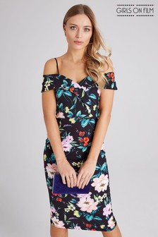 ee9f98848e1 Girls On Film Bardot Strappy Floral Based Midi Bodycon Dress