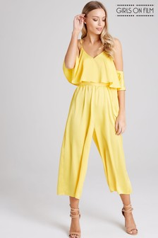 051208aa726 Girls On Film Cold Shoulder Tie Waist Wide Leg Culotte Jumpsuit