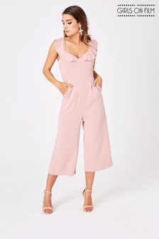 Girls On Film Frill Front Wide Leg Culotte Jumpsuit