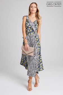 2f9b88a1c38 Girls On Film Print Mix Strappy Midi Dress