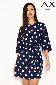 AX Paris Knot Front Polka Dot Dress