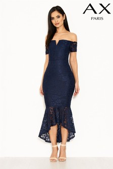 AX Paris Notch Dip Hem Lace Dress