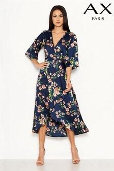 AX Paris Floral Satin Wrap Dress